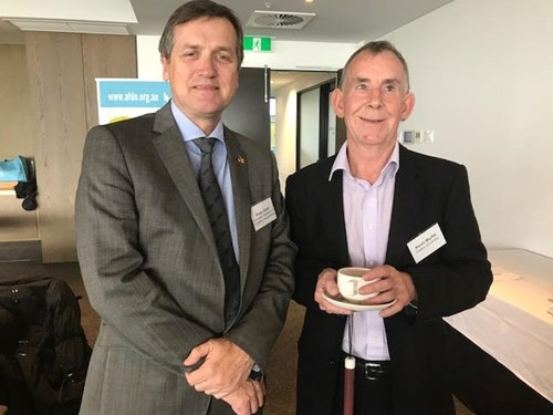 AFDO CEO, Ross Joyce and Dr Kevin Murfitt of Deakin University at an AFDO Diversity Field Officer Service event.