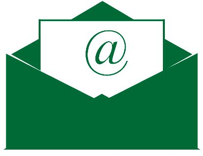 "Contact us icon - green envelope with ""@"" symbol."