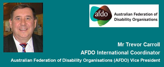 "AFDO Logo with wording ""Trevor Carroll, AFDO International Coordinator, AFDO Vice President"".  A photo of Trevor is above the wording."