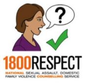 "Image of person speaking with a speech bubble with a ""?"" inside. Below the image is the text ""1800RESPECT"""